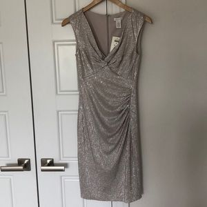 Shimmery champagne Cache dress - Size 4 - NWT